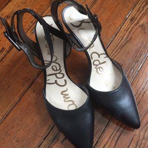 Sam Edelman black ankle wrap heels